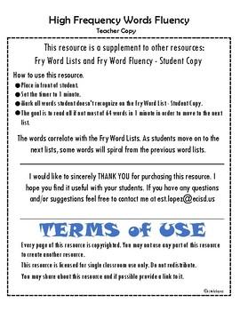 High Frequency Words Fluency - Teacher Copy