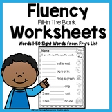 Sight Word Fluency Worksheets Fry's First 50 Words