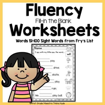 Sight Word Fluency Worksheets Fry's Words 51-100