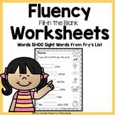 High Frequency Words Fluency Worksheets Fry's Words 51-100