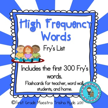 High Frequency Words Fry's List 300 HFW Flash Cards