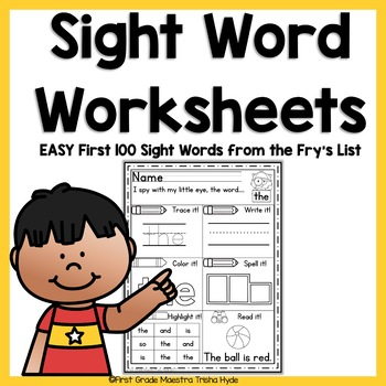 Sight Word EASY Worksheets Fry's First 100 Words