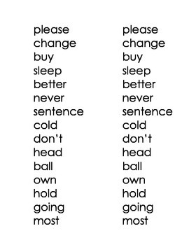 High Frequency Words - Green Words