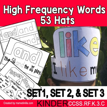 High Frequency Words Hats Kinder BUNDLE SET 1,2,3 (CCSS.RF