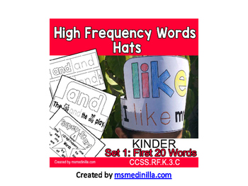 High Frequency Words Hats Kinder SET 1 CCSS.RF.K.3.C Sight Words