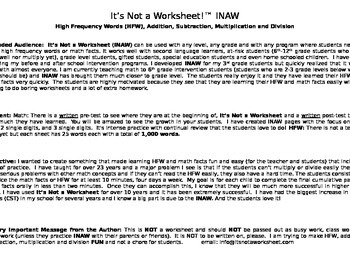 High Frequency Sight Words #1   (words: 1-500)    It's Not a Worksheet   (INAW)