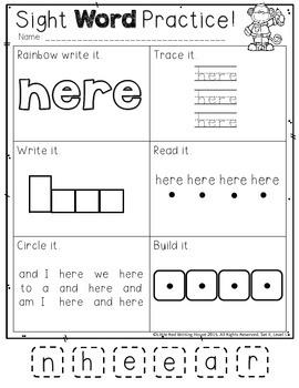 High Frequency Words {Kindergarten, Pack 2}