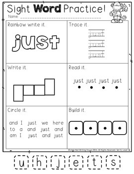 High Frequency Words {Kindergarten, Pack 4}