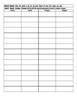 High Frequency Words List 1-6 BUNDLE