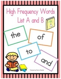200 High Frequency Word Cards (Literacy First) List A and B