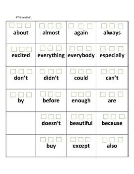 Sight Words Practice (4th Grade)