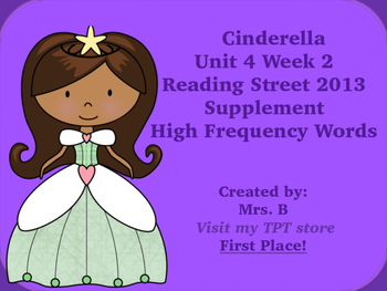 Reading Street Grade 1 Unit 4 Week 2 High Frequency Words Practice Cinderella