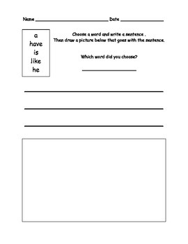 High Frequency Words Practice Sheets 2