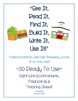 High Frequency Words Practice Sheets~30 Words~Morning Work, Center, Homework+!