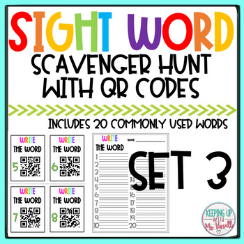 High Frequency Words QR Code Scavenger Hunt 2
