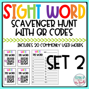 High Frequency Words QR Code Scavenger Hunt 3