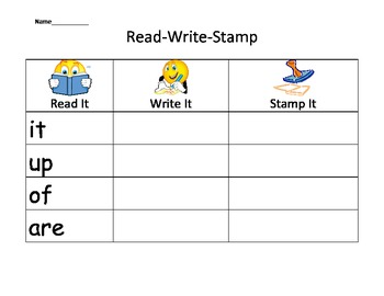 High Frequency Words -Read, Write and Stamp 1-20