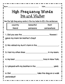 High Frequency Words Reading Street 2nd Grade 1.1