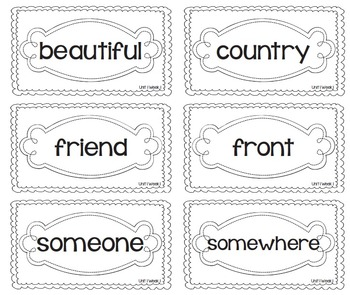 EDITABLE High Frequency Words- Reading Street- 2nd Grade- Black and White