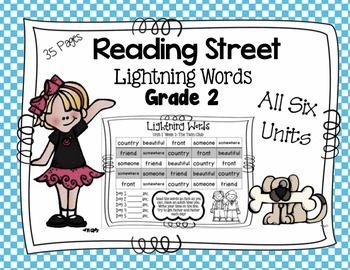 High Frequency Words - Reading Street - Lightning Words- Grade 2