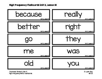 High Frequency Words Resources - Journeys, Grade 2, Unit 2