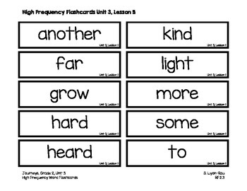 High Frequency Words Resources - Journeys, Grade 2, Unit 3