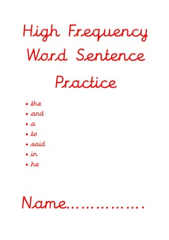 High Frequency Words Sentence Work