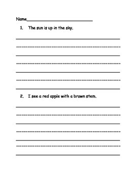 High Frequency Words Sentence Writing Practice