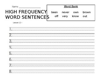 High Frequency Words Sentences-Journeys Lesson 12