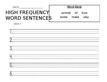 High Frequency Words Sentences-Journeys Lesson 7