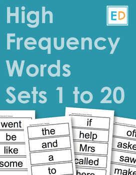 99 High Frequency Words flashcards - Sets 1 to 20