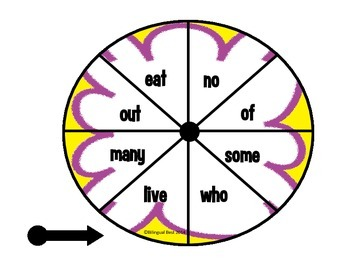 High Frequency Words Spinners