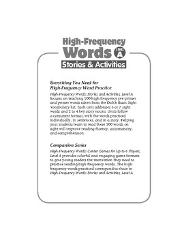 High-Frequency Words: Stories and Activities, Level A
