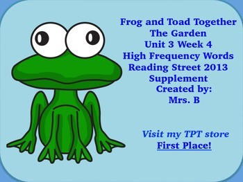 Reading Street Grade 1 Unit 3 Week 4 High Frequency Words Frog and Toad