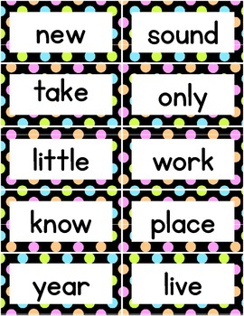 High Frequency Words -  400 Word Wall Words- Neon Polka Dots