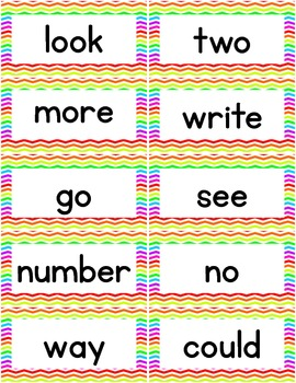 High Frequency Words - 400 Word Wall Words - Rainbow Chevron