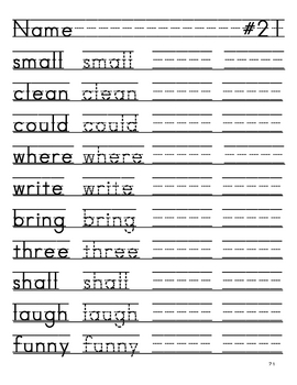 High Frequency Words-Writing Practice for Primary-Dotted