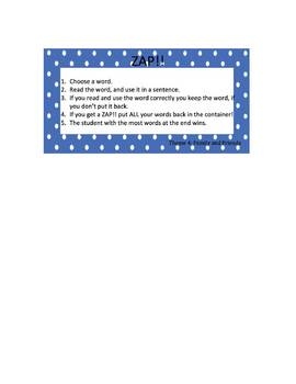 High Frequency Words ZAP!  Theme Four