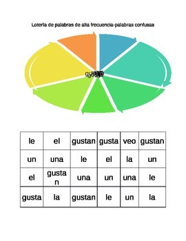 High Frequency Words and Letter Names and Sounds BINGO