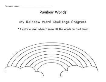 High Frequency Words and Sight Words Rainbow Challenge * Reading