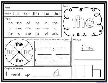 High Frequency Word Find, Write, and Read Freebie