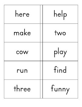High Frequency Words flash cards Kindergarten - set 2