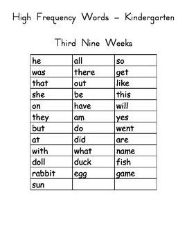 High Frequency Words flash cards Kindergarten - set 3