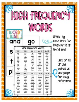 High Frequency Words for Benchmark Advance