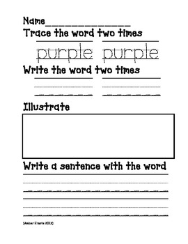 High Frequency Words for K