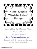 High Frequency Words for Speech Therapy