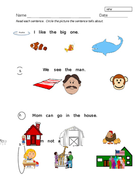 High Frequency Words in Context/Comprehension #2 ----- K A