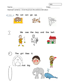 High Frequency Words in Context/Comprehension ----- K Assessment----EDITABLE