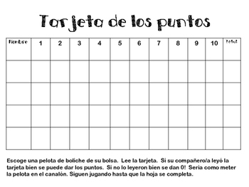 High Frequency Words in Spanish Bowling Game