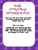 High Frequency Writing Word Cards